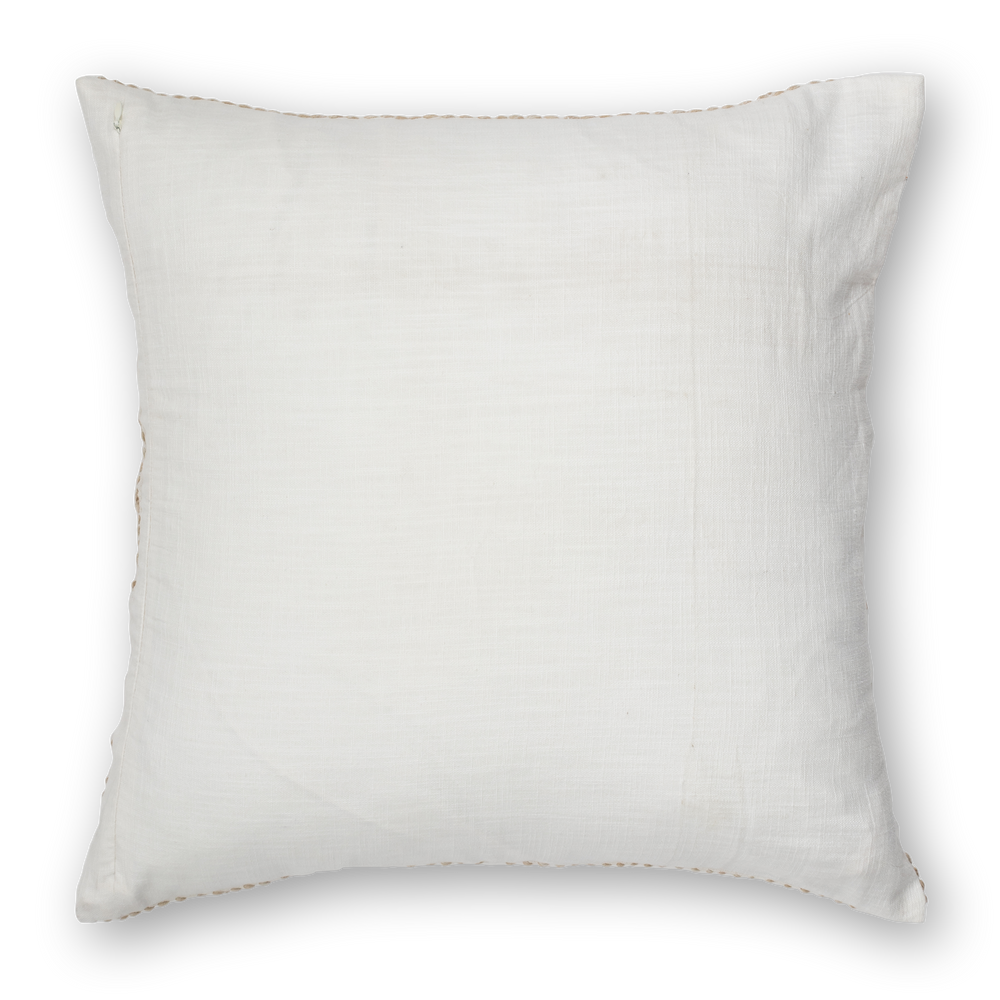 Embroidered Pillow Linen Natural Back
