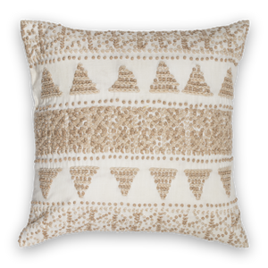 Embroidered Pillow Linen Natural Front