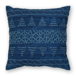 Embroidered Pillow Linen Navy Front