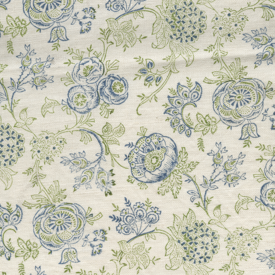 Eloquence printed linen fabric blue green