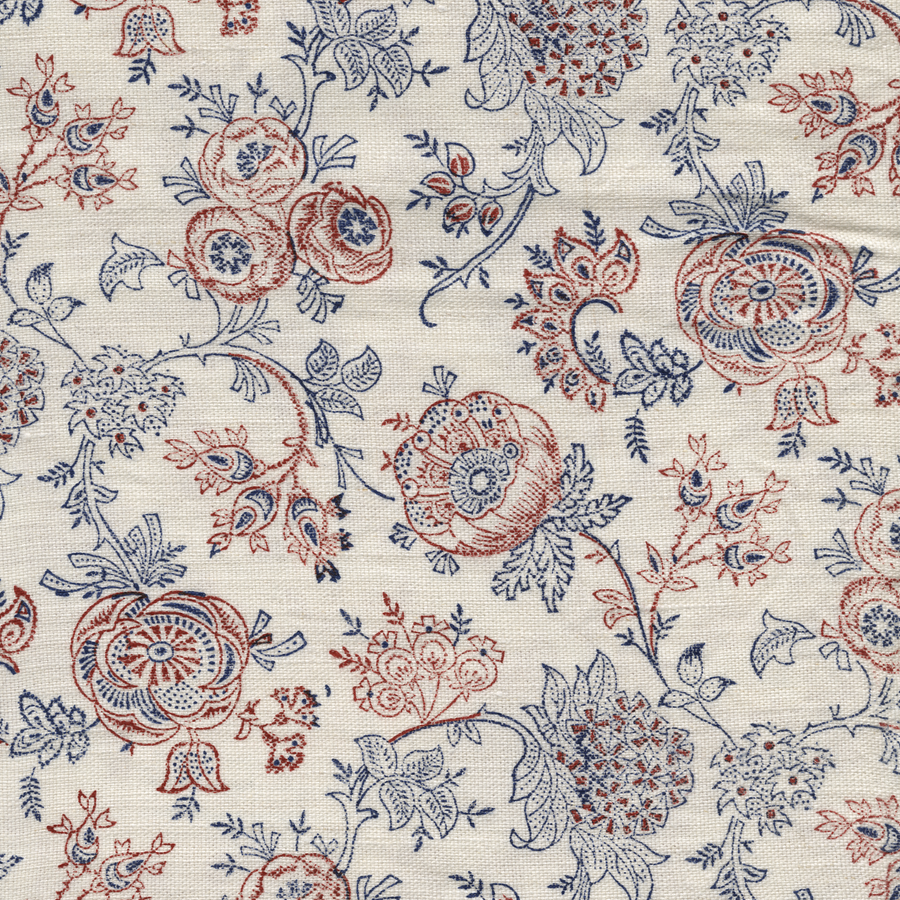Eloquence printed linen fabric navy red