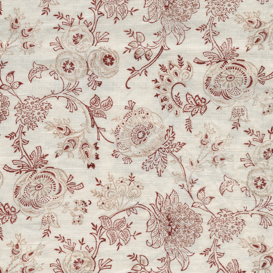 Eloquence printed linen fabric red pink