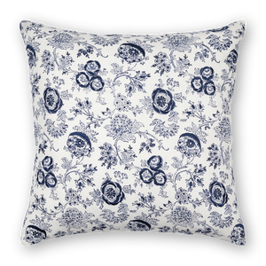 Eloquence printed linen pillow navy