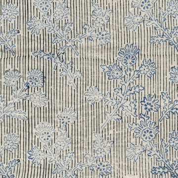 Elysian Printed Linen Fabric Black Blue