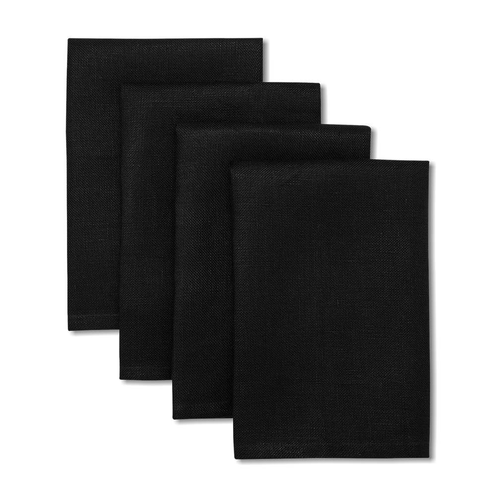 Load image into Gallery viewer, Solid Linen Napkins Black