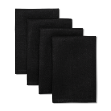 Solid Linen Napkins Black