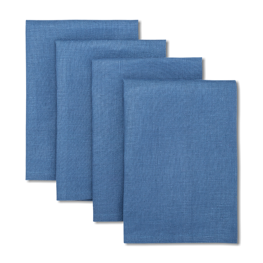 Solid Linen Napkins Blue