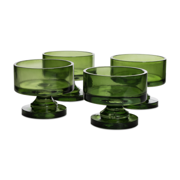 Green Glass Footed Dessert Bowls