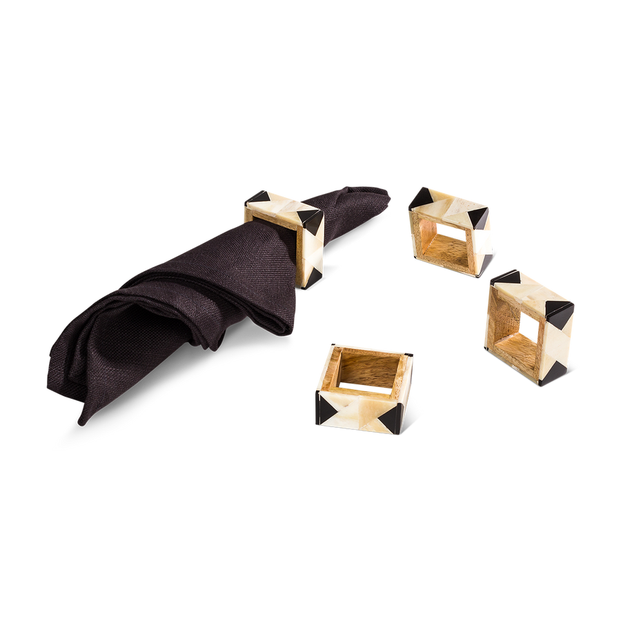 Graphic Bone Napkin Rings (Set/4)