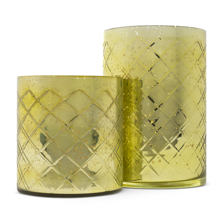 Green Etched Glass Vases