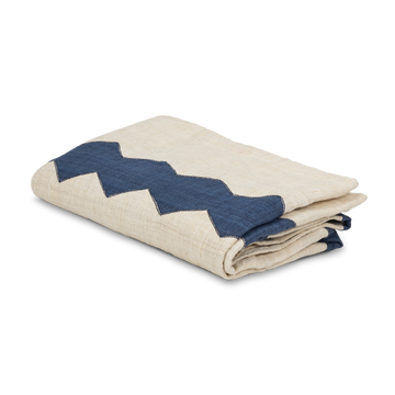 Blue and White Zig Zag Hemp Throw