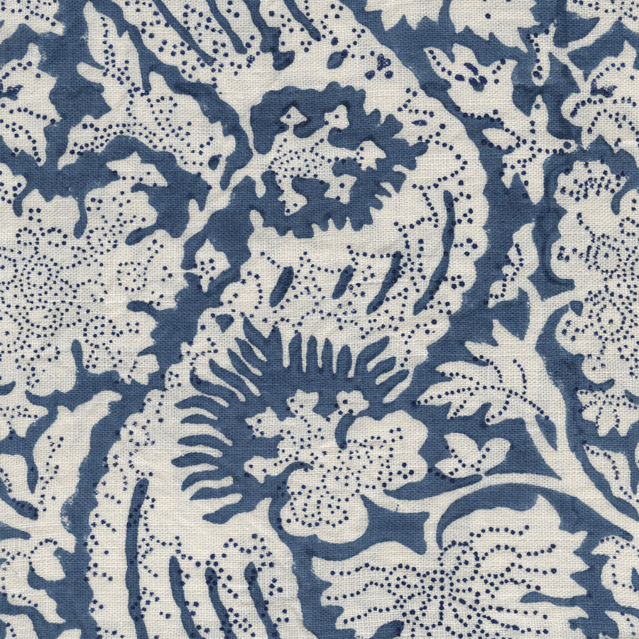Meraki Printed Linen Fabric Blue Navy