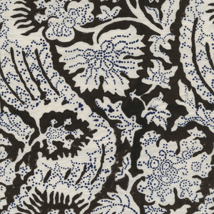 Meraki Printed Linen Fabric Brown Navy