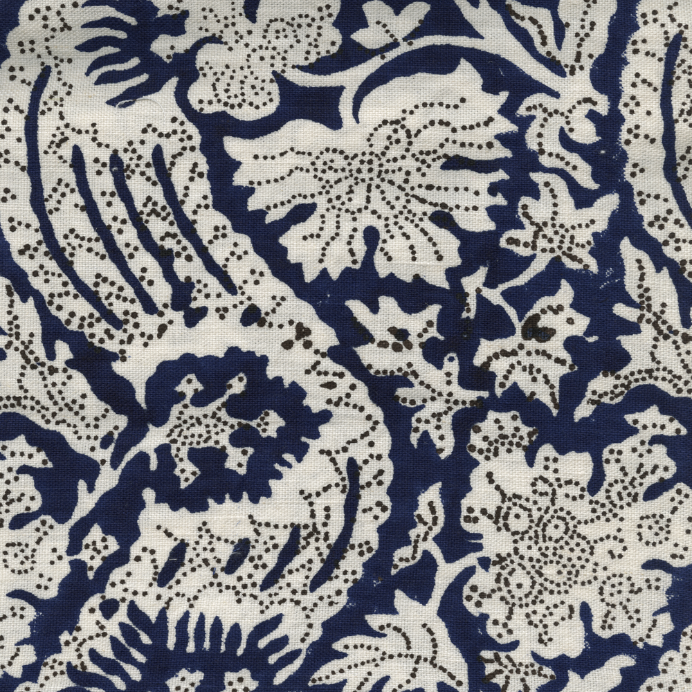 Meraki Printed Linen Fabric Navy Brown