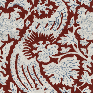 Meraki Printed Linen Fabric Red Blue