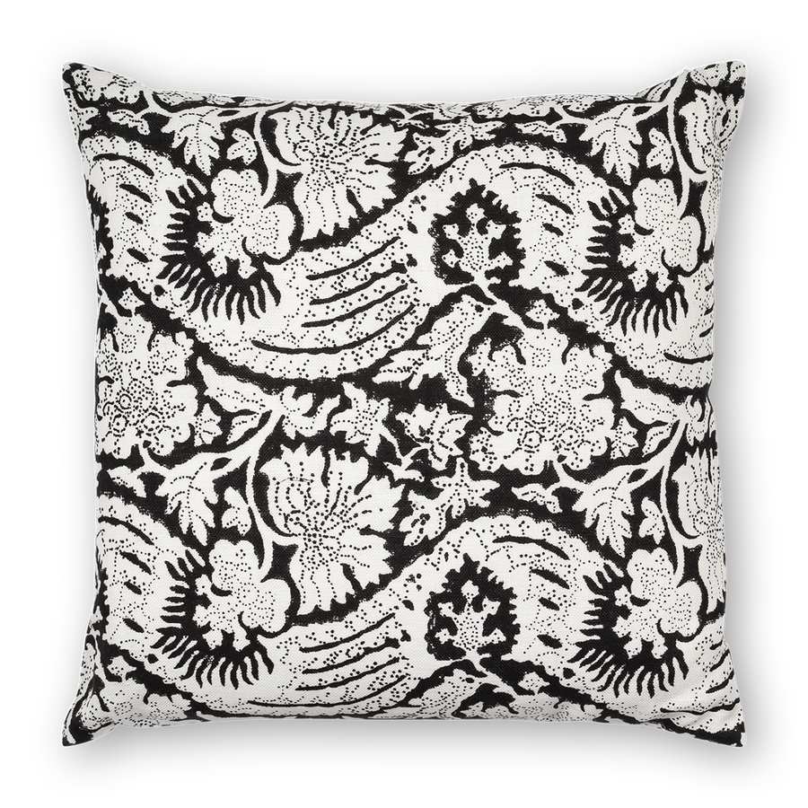 Meraki Printed Linen Pillow Black