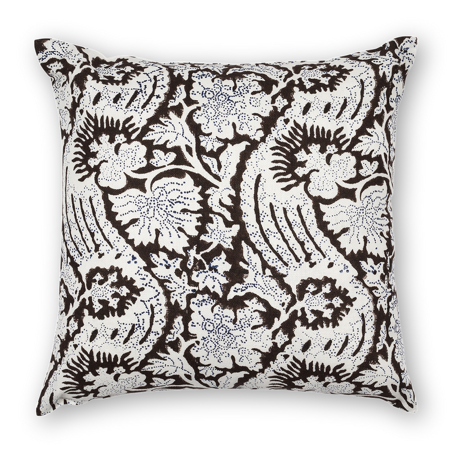 Meraki Printed Linen Pillow Brown