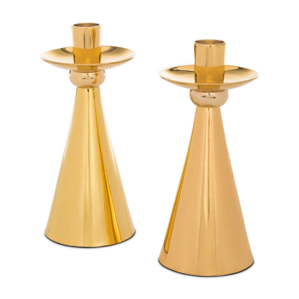 Load image into Gallery viewer, brass candlestick pair
