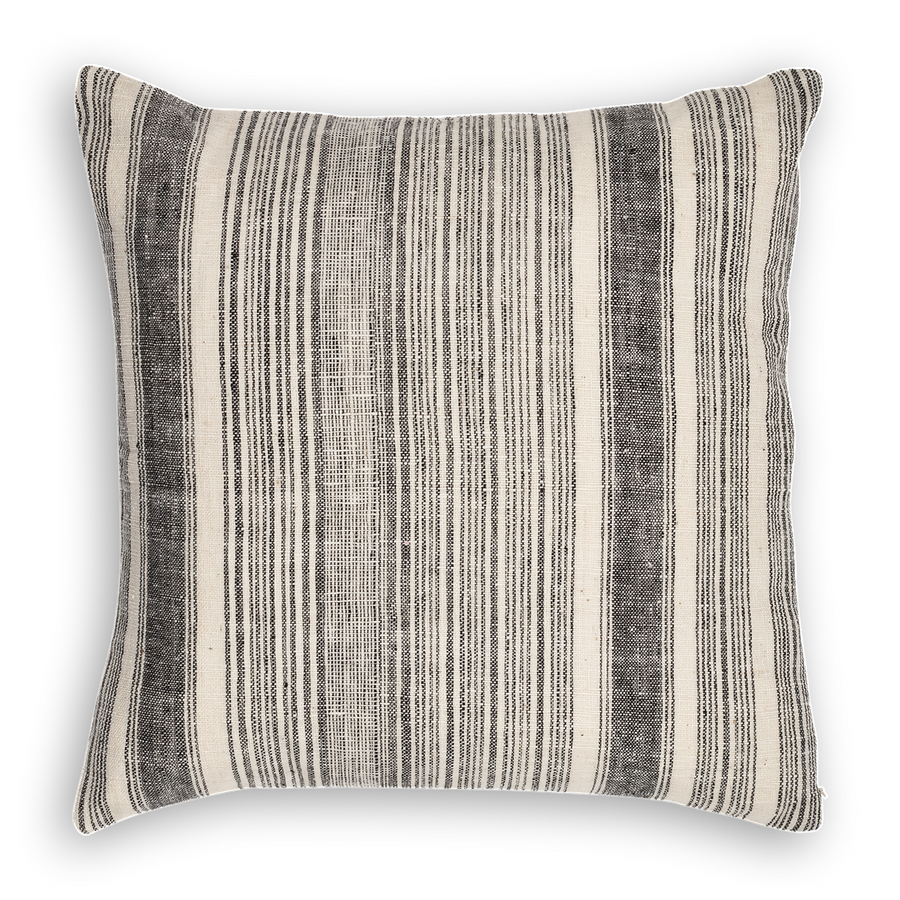 Riverine Striped Pillow Black