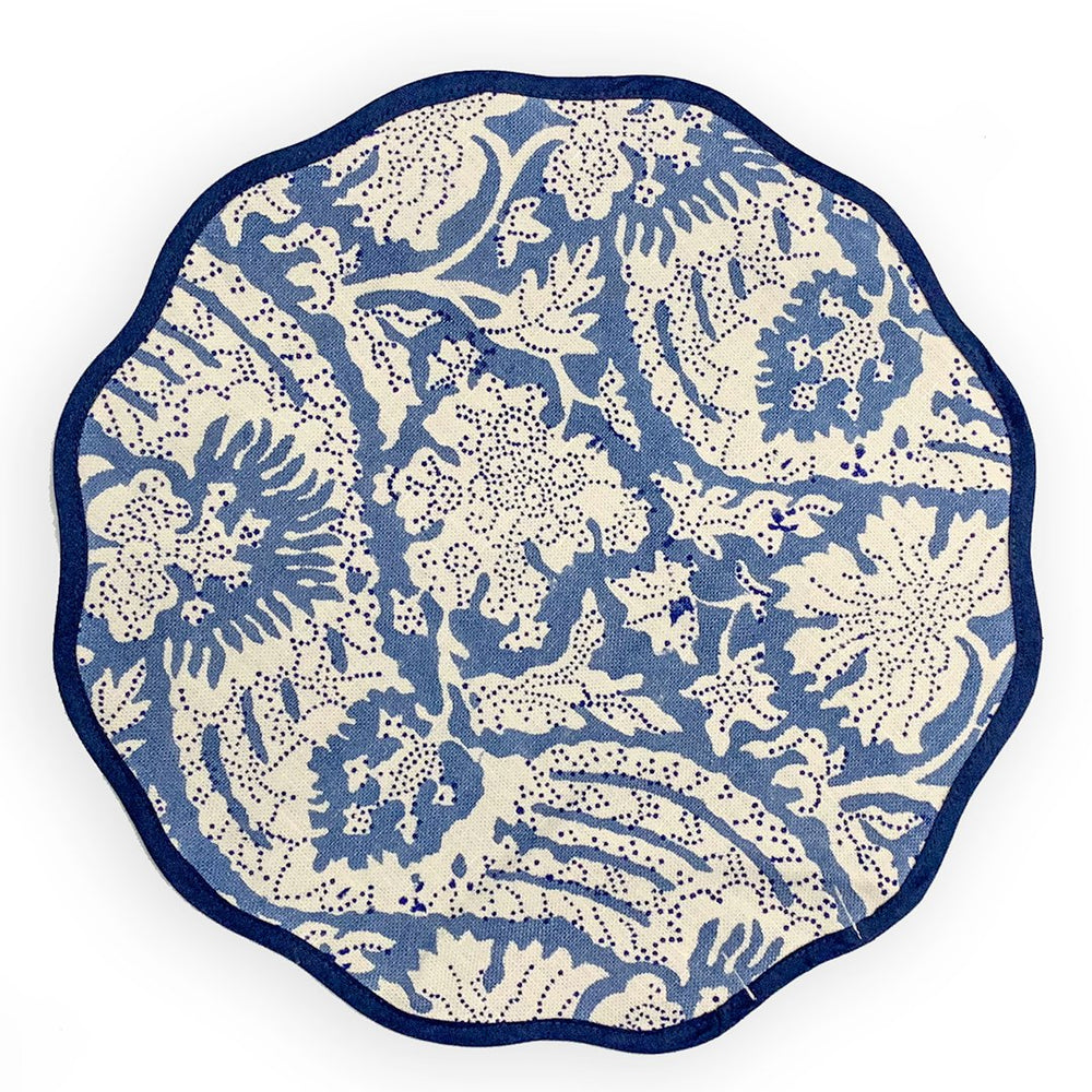 Scalloped Placemat, Meraki Blue