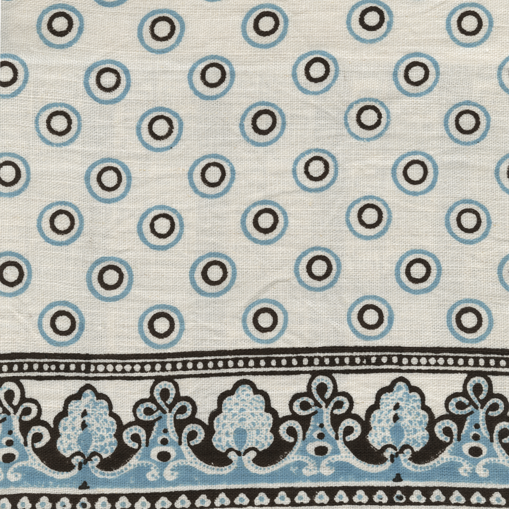 Load image into Gallery viewer, Serendipity Printed Linen Fabric Brown Turquoise