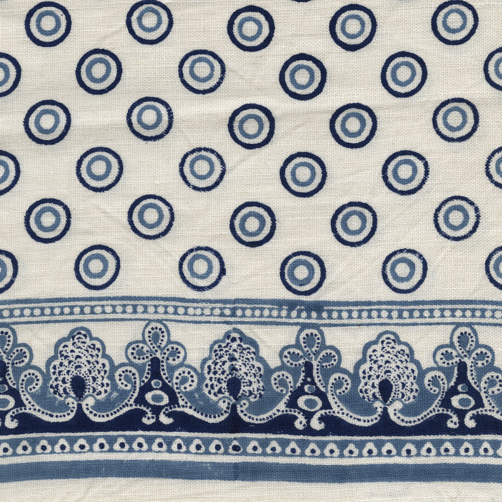 Serendipity Printed Linen Fabric Navy Blue