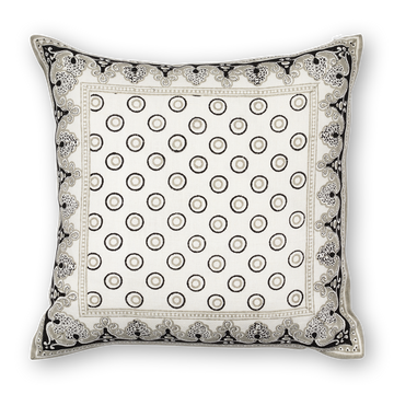 Serendipity Printed Linen Pillow Black Gray