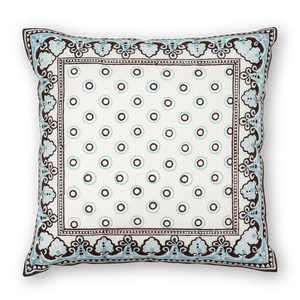 Serendipity Printed Linen Pillow Brown Turquoise