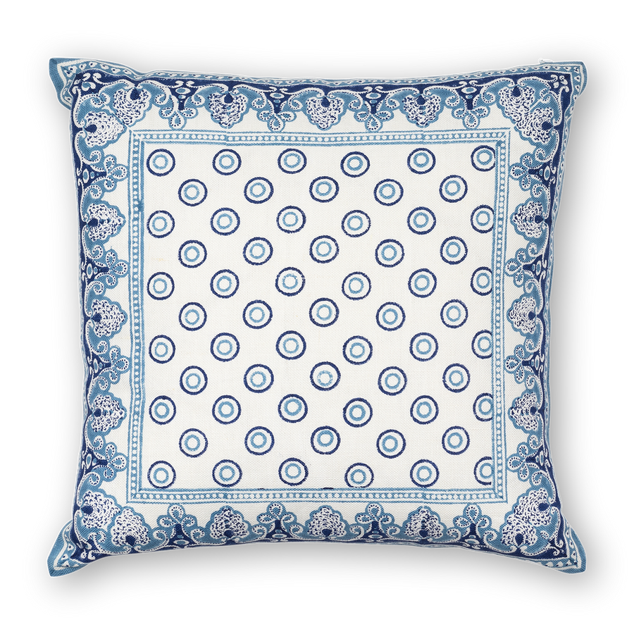 Serendipity Printed Linen Pillow Navy Blue