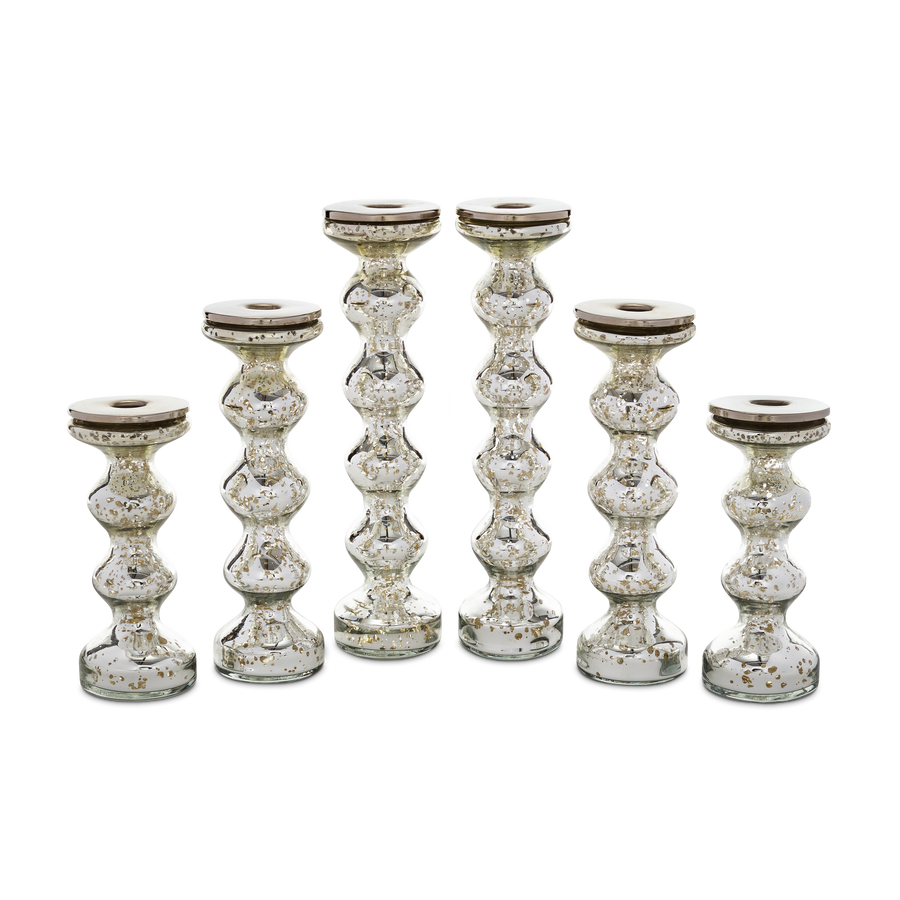Silvered Mercury Glass Candlestick Group
