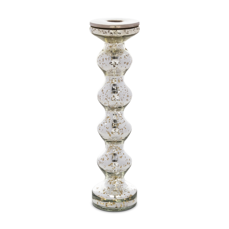 Silvered Mercury Glass Candlestick Large