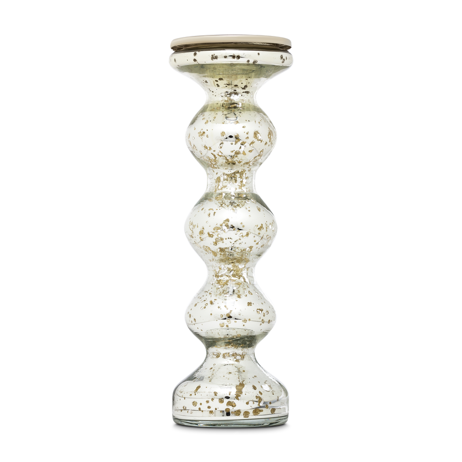 Silvered Mercury Glass Candlestick Medium