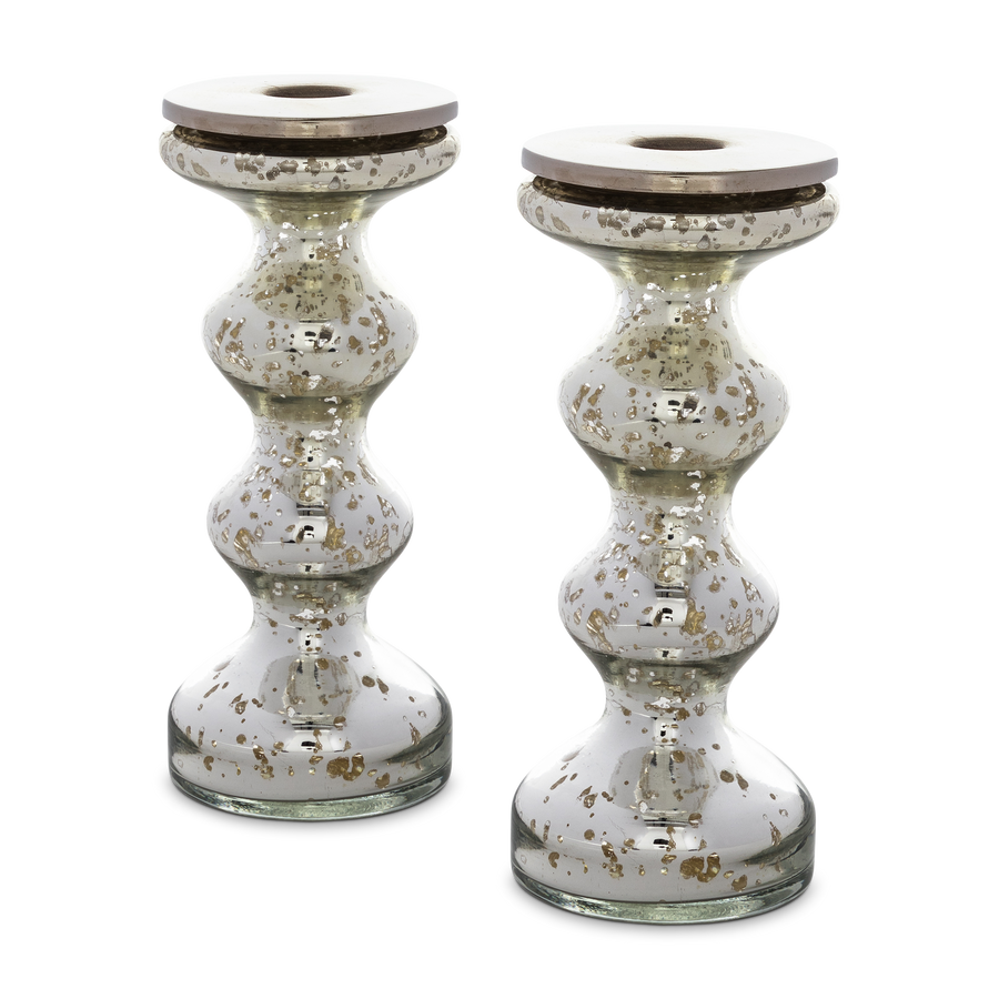 Silvered Mercury Glass Candlestick Small