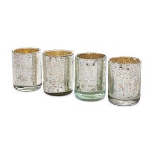 Load image into Gallery viewer, Silvered Mercury Glass Votive Set
