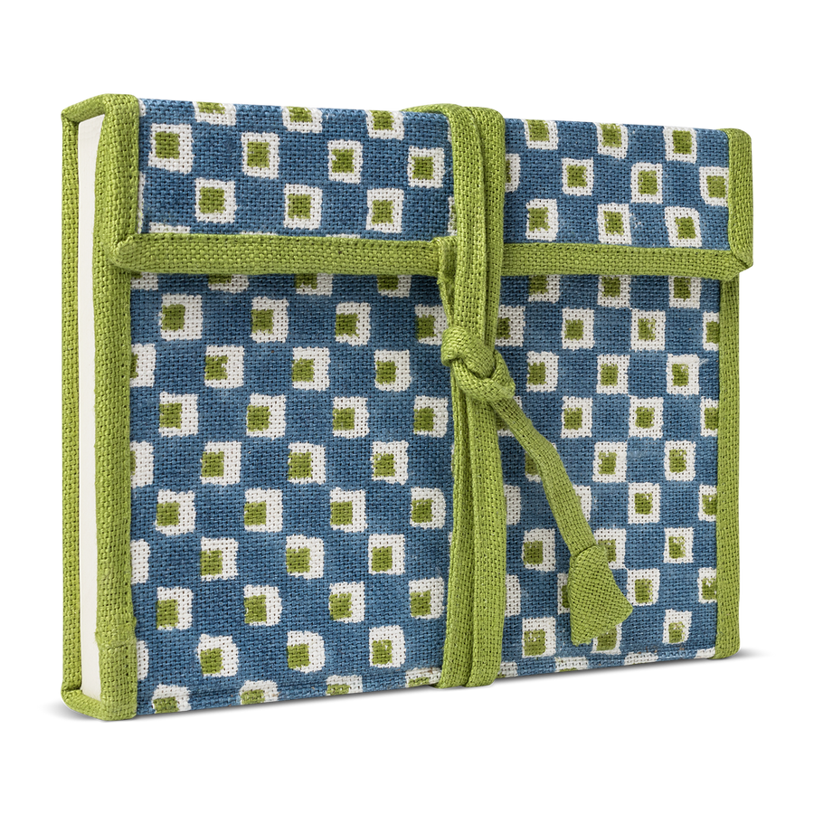 Checkerboard Fabric Wrapped Notebook Blue Green