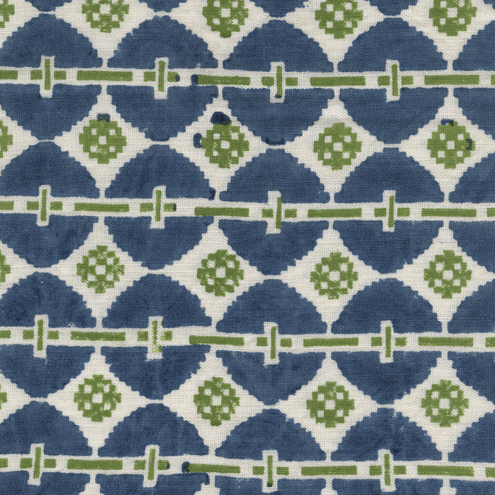 Load image into Gallery viewer, Talisman Printed Linen Fabric Blue Green