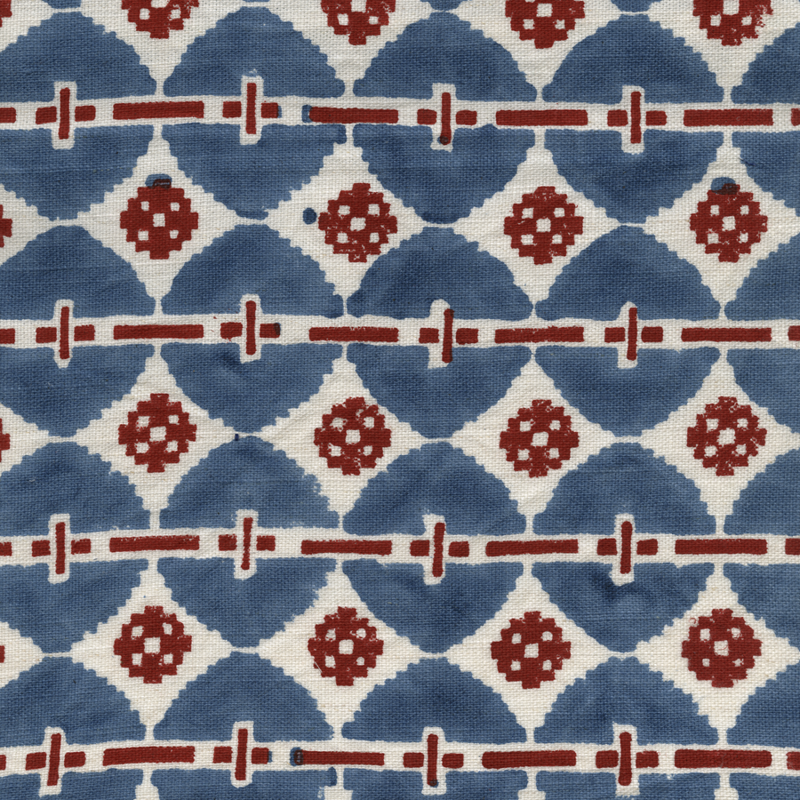 Talisman Printed Linen Fabric Blue Red