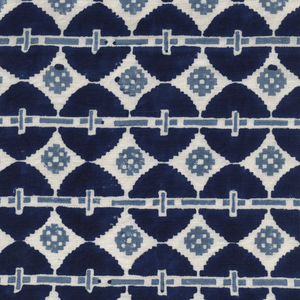 Load image into Gallery viewer, Talisman Printed Linen Fabric Navy Blue