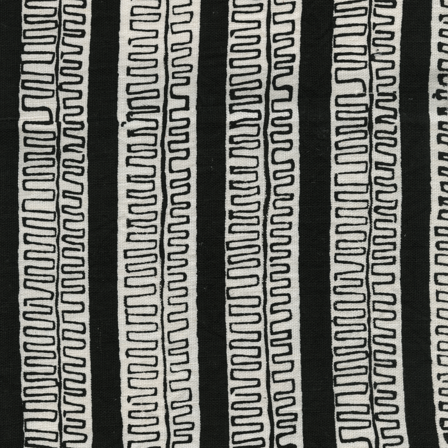 Trouvaille Printed Linen Fabric Black