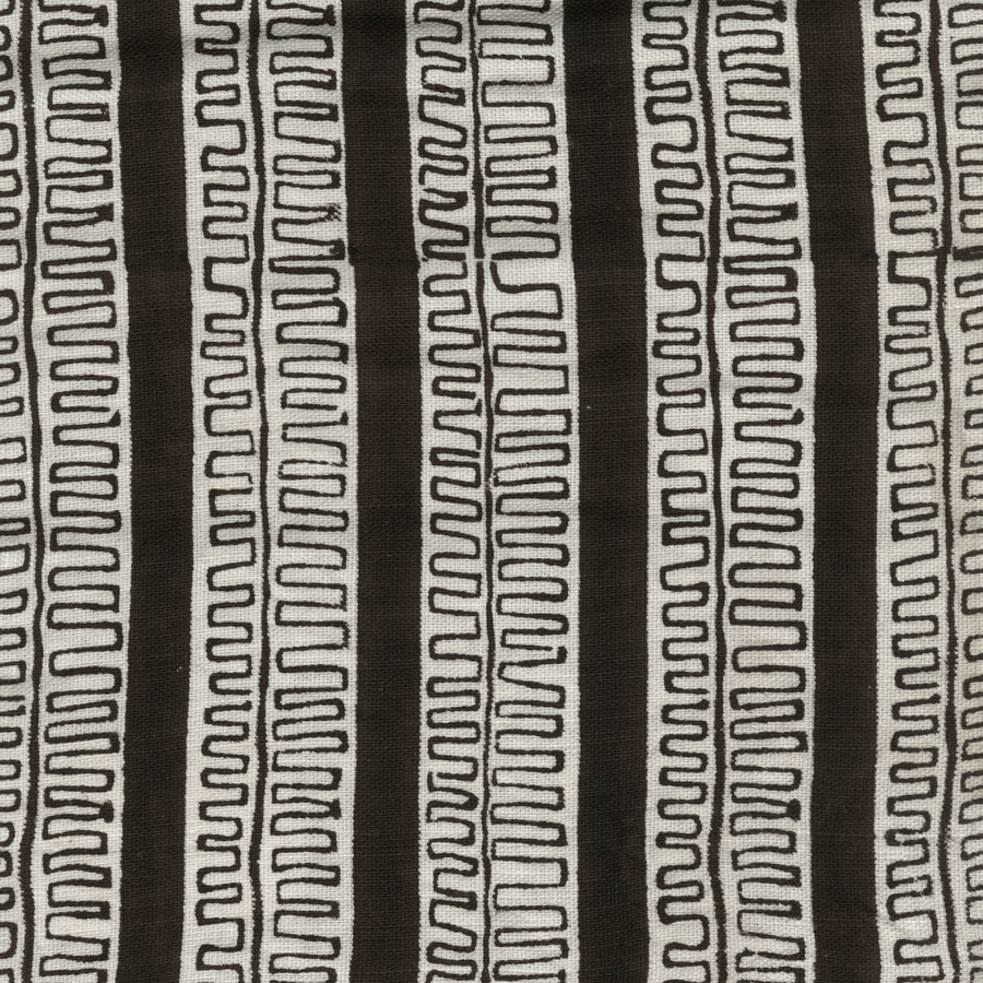 Trouvaille Printed Linen Fabric Brown