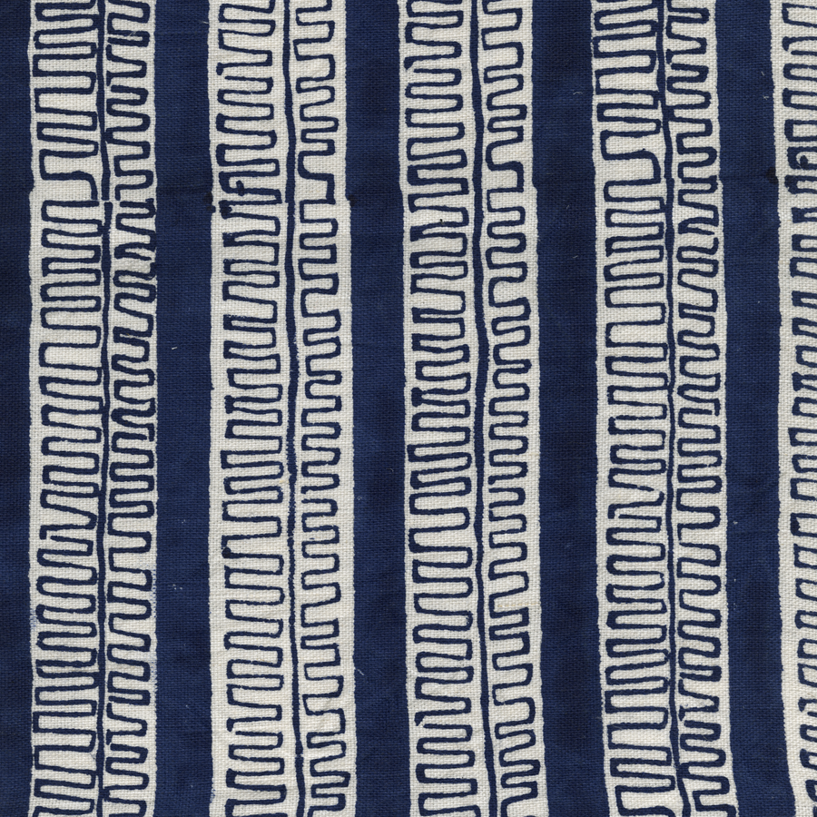 Trouvaille Printed Linen Fabric Navy