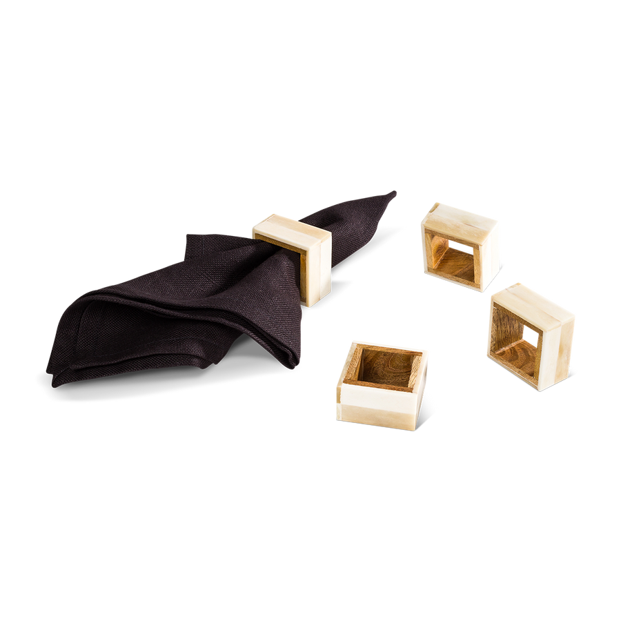 Two-Toned Bone Napkin Rings (Set/4)