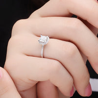 0.8CT Engagement Ring Women Cubic Zirconia Square Princess Cut Genuine 925 Sterling Silver Jewelry Anniversary Gift for Wife