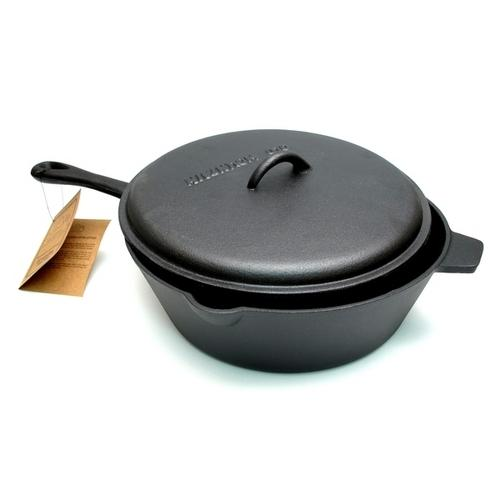 Old Mountain Cast Iron Preseasoned 5 qt Deep Fry Skillet w Lid