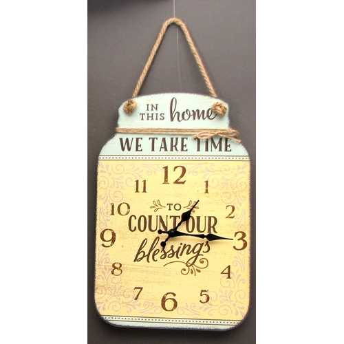 "Tin Wall Clock ""Count Our Blessings"""