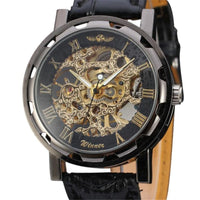 Classic Royal Men's Black Leather Dial Mechanical Sport Army