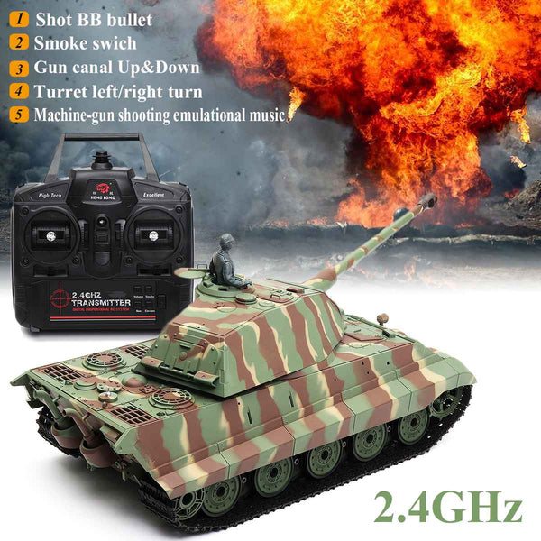 1/16 2.4G 3888-1 German King Tiger Battle Tank RC Car Vehicle Main Battle Military Truck Recoil Effect Tank Model Electronic Toy