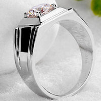 1 Carat White Gold 585 Classic Men's Ring Ashine Synthetic Diamonds Men's Engagement Ring Pleasing Design Make Beauty Around