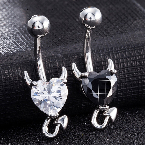 1 Pcs Navel Belly Button Ring Glitter Love Heart Decor Piercing Jewelry Navel Nail LL@17