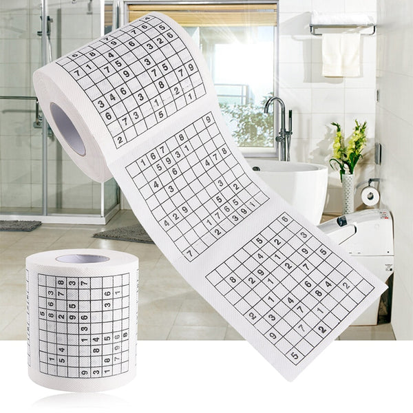 1 Roll 2 Ply Number Sudoku Printed WC Bath Funny Toilet Paper Tissue Bathroom Supplies Jag Gift